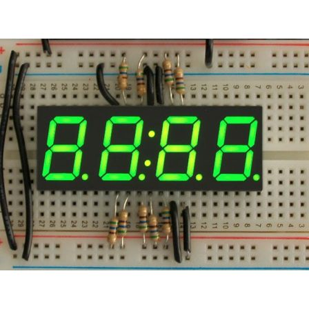 Green 7-segment clock display - 0.56' digit height