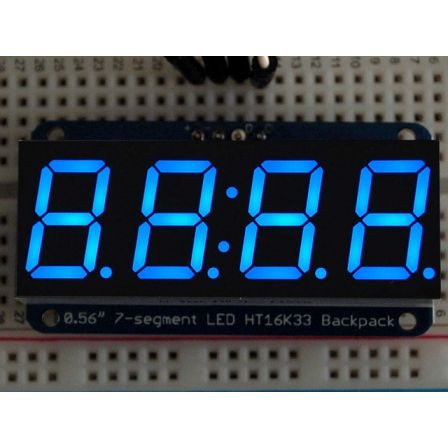 Adafruit 0.56' 4-Digit 7-Segment Display w/I2C Backpack - Blue