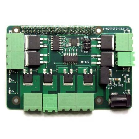 8-MOSFETS Solid State Stackable Card for Raspberry Pi