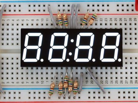 White 7-segment clock display - 0.56' digit height