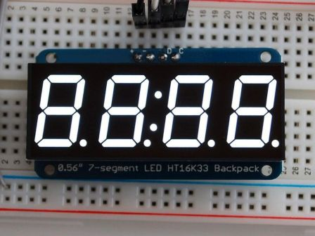 Adafruit 0.56' 4-Digit 7-Segment Display w/I2C Backpack - White