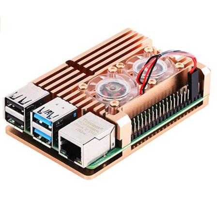Raspberry Pi 4 Aluminium Koeling Actieve Heatsink met 2 ventilators - Brons