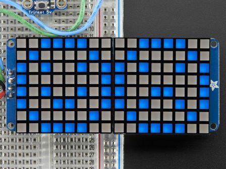 16x8 1.2' LED Matrix + Backpack - Ultra Bright Square Blue LEDs