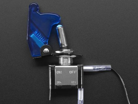 Illuminated Toggle Switch with Cover - Blue