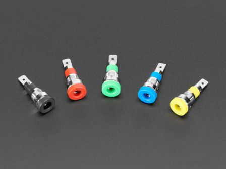 Panel-Mount Banana Jacks 4mm - Pack of 5 Multi-Color