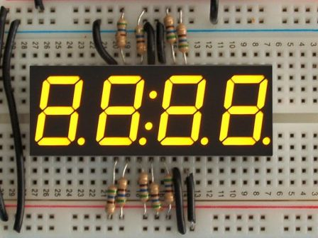 Yellow 7-segment clock display - 0.56' digit height