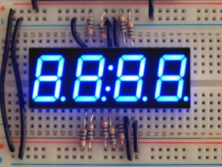 Blue 7-segment clock display - 0.56' digit height