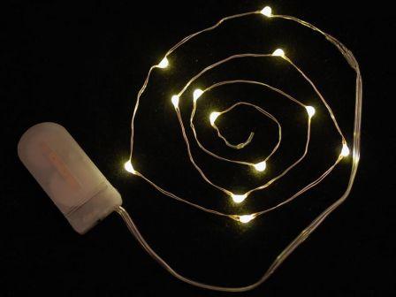 Wire Light LED Strand - 12 Warm White LEDs + Coin Cell Holder