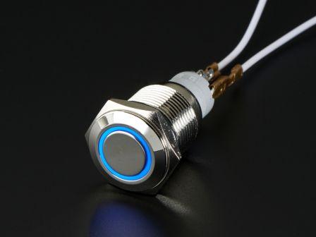 Metalen On/Off Schakelaar met Blauwe LED Ring - 16mm Blauw On/Off