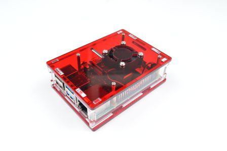 Premium Raspberry Pi 4 Behuizing - Rood/Transparant inclusief ventilator