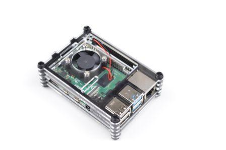 Gelaagde Raspberry Pi 4 Behuizing inclusief Ventilator - Zwart / Transparant