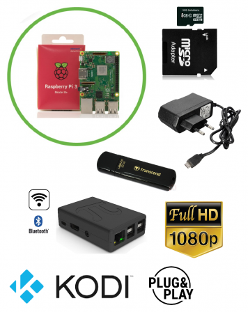Kodi TV Box met Raspberry Pi 3B+ TURBO Uitvoering