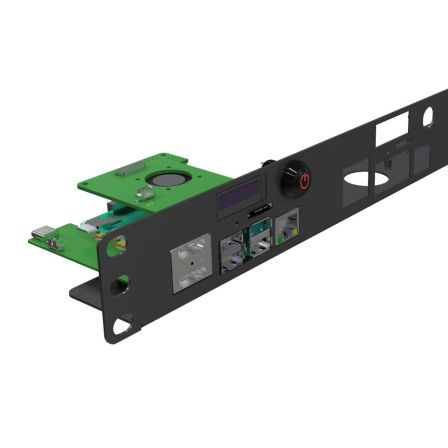 Raspberry Pi 4 Rack Mount 19 Inch 1U Bracket w/ OLED Monitor, Power Switch & Cooling Fan