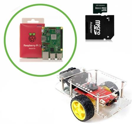 Complete Robot Kit met 2 Encoder Motoren Inclusief Raspberry Pi 3B+ en Micro SD Kaartje