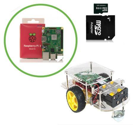 Complete Robot Kit met 2 DC Motoren Inclusief Raspberry Pi 3B+ en Micro SD Kaartje