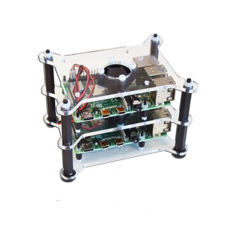 Raspberry Pi Stacker Behuizing met Ventilatoren - Transparant