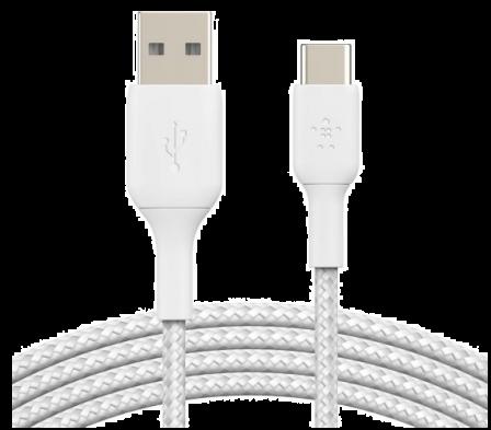 USB-C Kabel 3.0A Nylon Sleeve White - 1 Meter