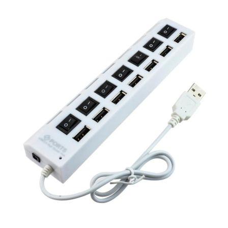 USB 2.0 HUB 7 poorten met aparte schakelaartjes Wit