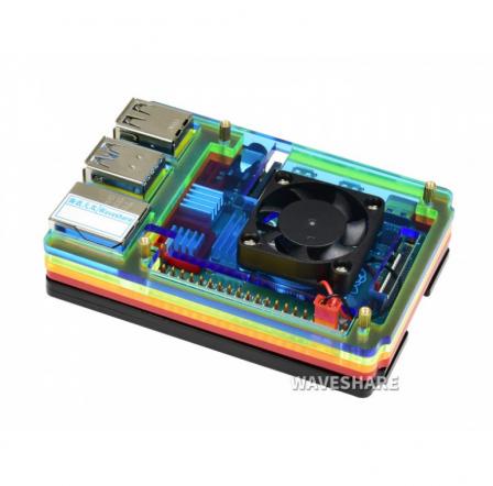 Regenboog Behuizing voor Raspberry Pi 4 met Ventilator
